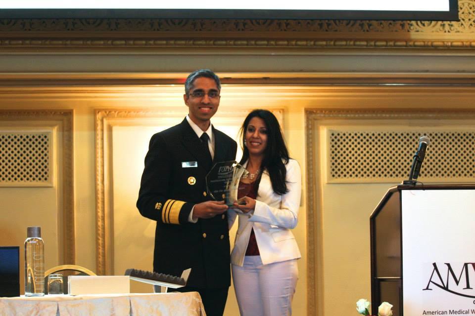 VADM Dr. Vivek Murthy receives AMWA Presidential award from 2014-15 AMWA President Dr. Farzanna Haffizulla