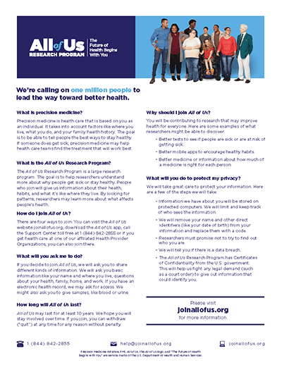 AOU fact sheet for participants.